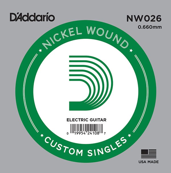 D'Addario NW026 Nickel Wound Electric Guitar Single String, .026