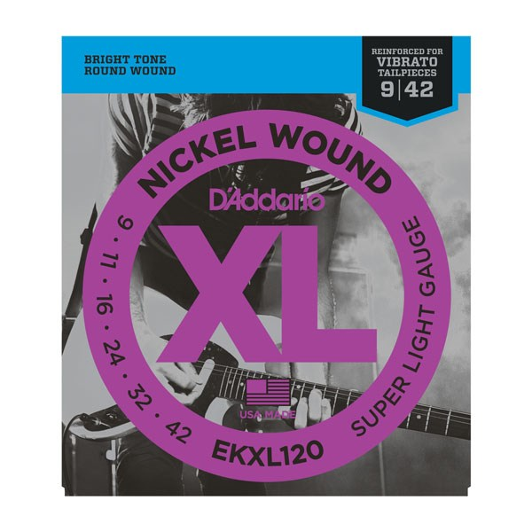 D'Addario EKXL120 Tremolo 9-42 Super Light Electric Guitar Strings