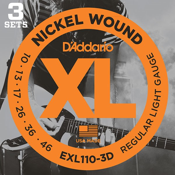 D'Addario EXL110-3D Nickel Light Electric Guitar Strings 3-Pack