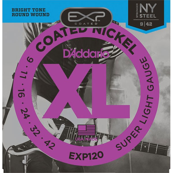 D'Addario EXP120 Coated Electric Super Light Guitar Strings