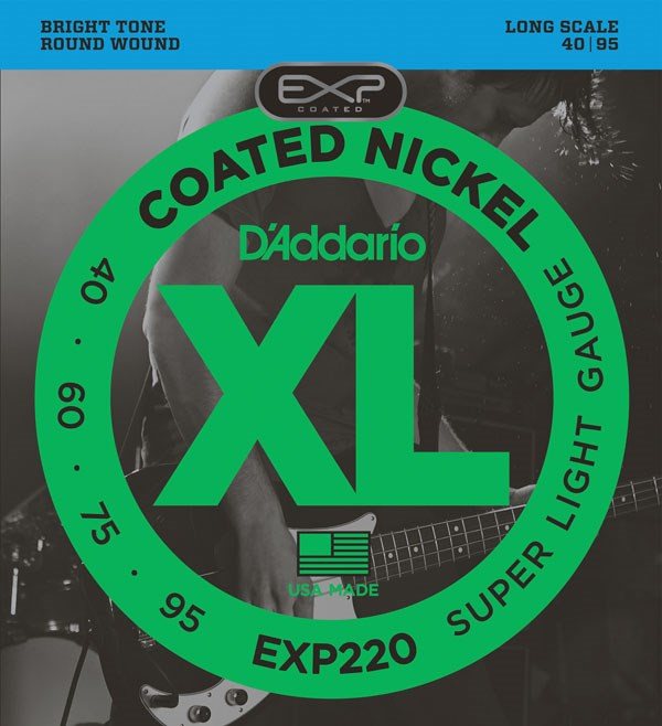 D'Addario EXL220 Nickel Wound Bass Guitar Strings - Super Light 40-95