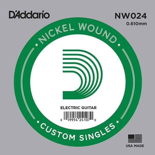 D'Addario NW024 Nickel Wound Electric Guitar Single String, .024