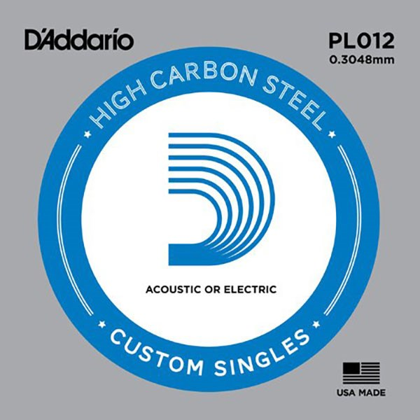 D'Addario PL012 Plain Steel Guitar Single String, .012