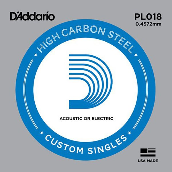 D'Addario PL018 Plain Steel Guitar Single String, .018