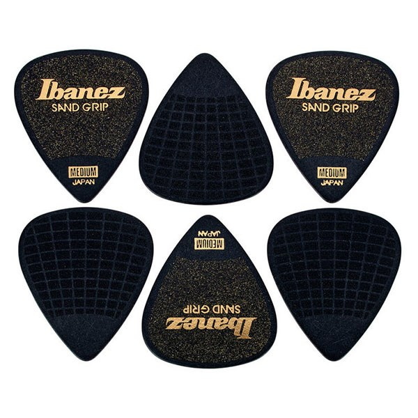 Ibanez PPA14MSG Grip Wizard Flat Pick Sand Grip Medium 0.8mm - Pack of 6