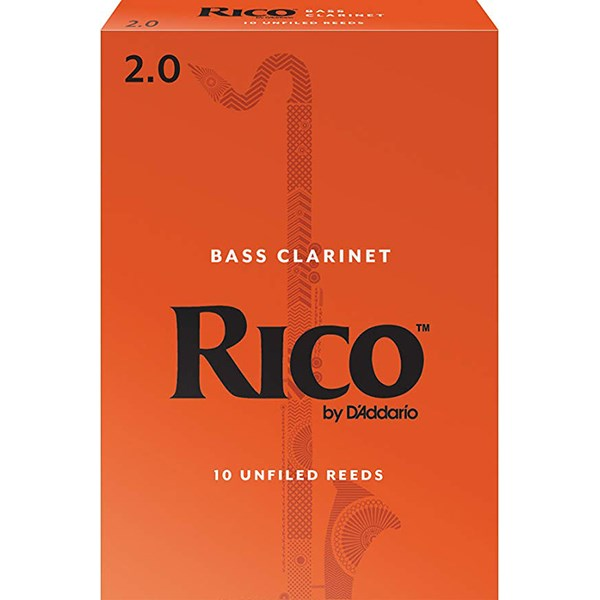 D'Addario Rico REA1020 Bass Clarinet Reeds, Strength 2.0 - 1 Piece