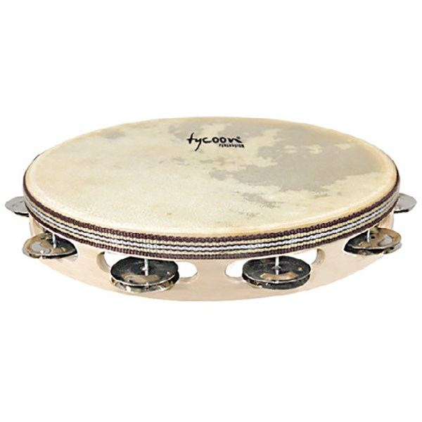 Tycoon TBWH-S BS Single Row Headed Wooden Tambourine with Steel Jingles