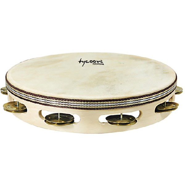 Tycoon TBWH-S BB Single Row Headed Wooden Tambourine with Brass Jingles