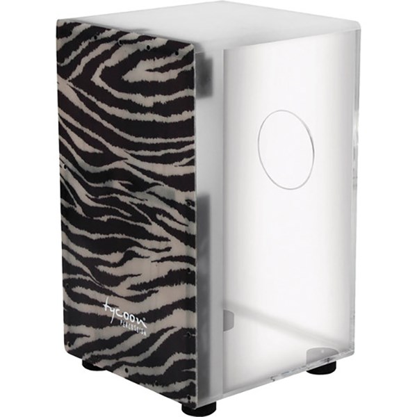 Tycoon TKX-29 FGZ 29 Series Clear Acrylic Cajon with Fiberglass White Tiger Front Plate