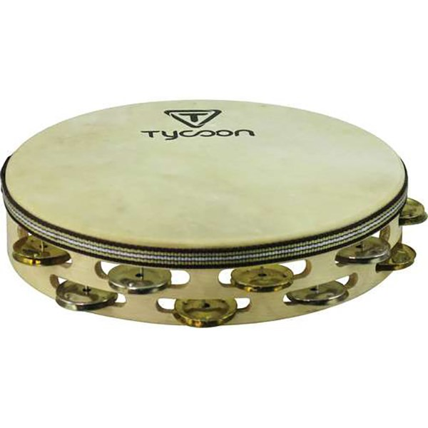 Tycoon TBWH-D BM Double Row Headed Wooden Tambourine with Mixed Jingles