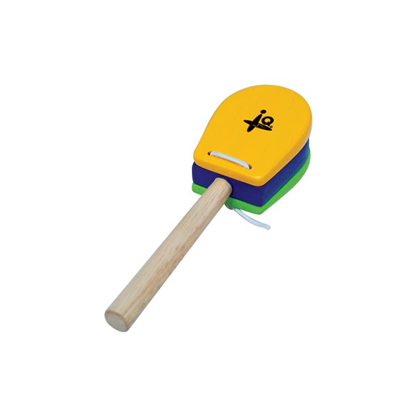 IQ Plus IQ-W007-01 Yellow & Green Castanet with Handle